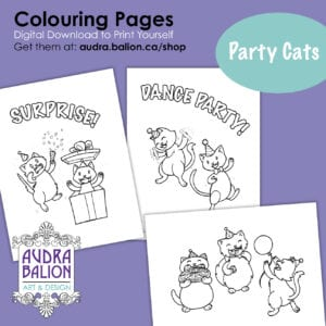 preview of party cats colouring pages
